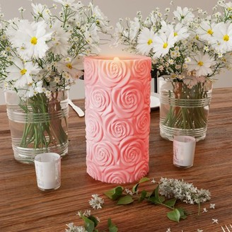 LED Candle with Remote Control-Rose Design Scented Wax, Realistic Flickering or Steady Flameless Pillar Light-Ambient Home Decor by Lavish Home