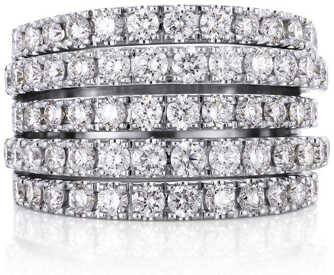White Gold and Diamond Five Line Ring