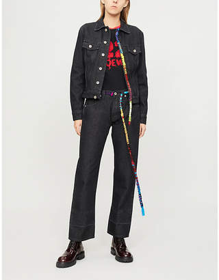 Loewe Cord-embroidered denim jacket
