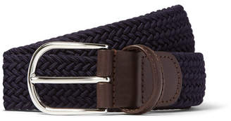 Andersons Anderson's 3.5cm Midnight-Blue Woven Waxed-Cord Belt