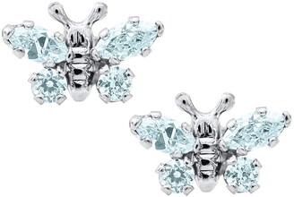 Mignonette Butterfly Birthstone Sterling Silver Earrings