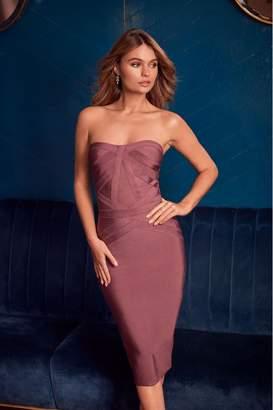 Lipsy Bardot Panelled Bandage Midi Dress - 6 - Pink