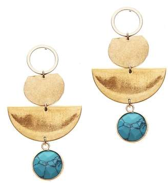 Nakamol Design Hammered Brass & Simulated Turquoise Drop Earrings