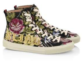 Gucci Major Rose-Print High-Top Sneakers