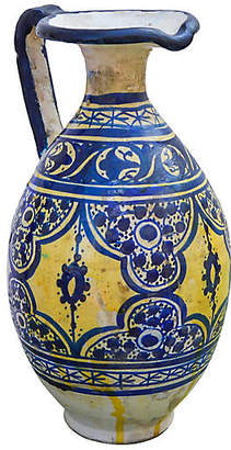 One Kings Lane Vintage Blue Moorish-Patterned Ceramic Pitcher - The Moroccan Room