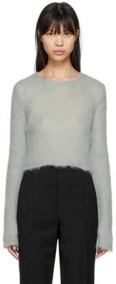 Saint Laurent Blue Cropped Mohair Sweater