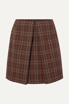 4fc574211 MM6 MAISON MARGIELA Pleated Checked Woven Mini Skirt - Brown