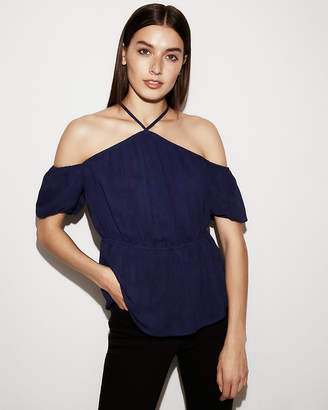 Express Sheer Chiffon Cross Back Blouse