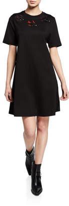 McQ Embellished Swallow Short-Sleeve Cotton Babydoll Dress