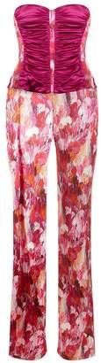 La Perla Silk Ready To Wear Blue Silk Jumpsuit In Floral Brushstroke Print With Built-In Bra