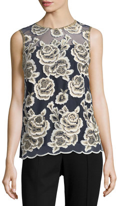 T Tahari Floral-Embroidered Sleeveless Blouse $99 thestylecure.com