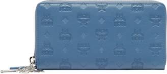 MCM Zip Around Wallet In Monogram Leather Charm