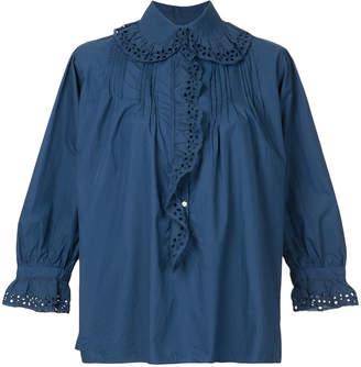 Nili Lotan 3/4 sleeve ruffled blouse