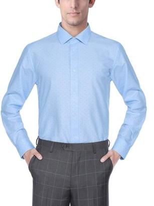 Verno Fashion Big Mens Printed Bow Tie Classic Fit Long Sleeve Blue Dress Shirt