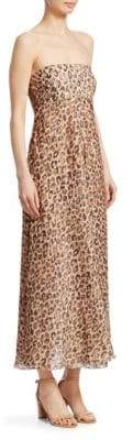 Zimmermann Melody Leopard Strapless Maxi Dress