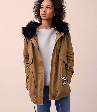 LOFT Floral Embroidered Faux Fur Parka