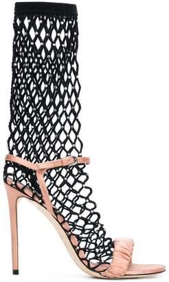 Marco De Vincenzo crystal fishnet sandals
