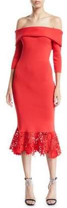 Sachin + Babi Relais Off-the-Shoulder Flounce Lace Hem Dress
