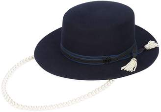 Maison Michel wide brim hat with hanging pearl chain