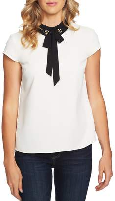 CeCe Embellished Bow Collar Blouse