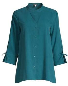 Eileen Fisher Stand Collar Silk Shirt