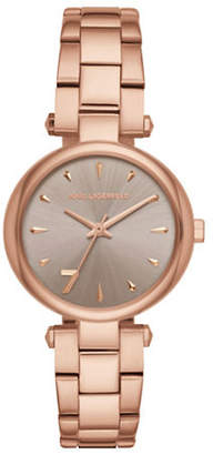 Karl Lagerfeld PARIS Aurelie Rose Goldtone Stainless Steel Link Bracelet Watch