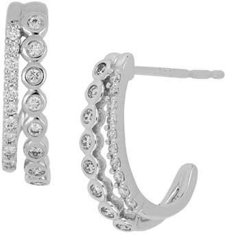 Bony Levy 18K White Gold Bezel & Prong Set Diamond Double Row Huggie Earrings - 0.25 ctw