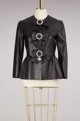 Gucci Plongé Leather Peplum Jacket