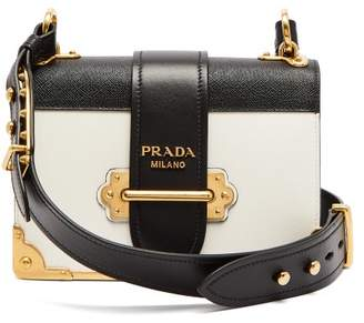 Prada Cahier Leather Cross Body Bag - Womens - Black White