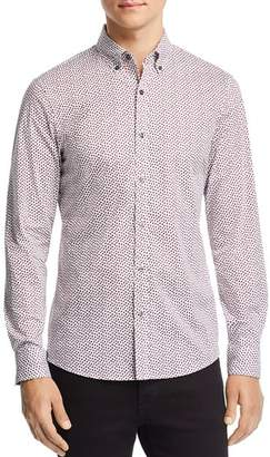 Michael Kors Leaf-Print Stretch Classic Fit Button-Down Shirt
