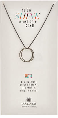 Dogeared Silver Black Sparkle Chain Necklace
