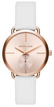Michael Kors Portia Rose Goldtone Two-Hand Sub-Eye Leather Strap Watch