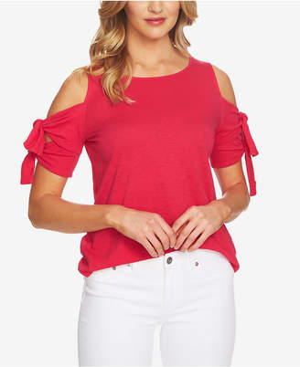 CeCe Cold-Shoulder Tie-Sleeve Top