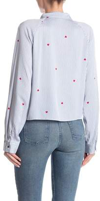 Love, Fire Long Sleeve Tie Front Button Down Shirt