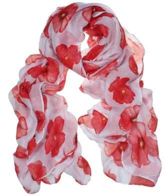 Franterd New Ladies Red Poppy Print Long Scarf Flower Beach Scrafs Shawl