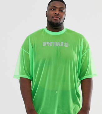 49d3c944 Asos Design DESIGN Plus oversized t-shirt is neon mesh with hot fix gem  print