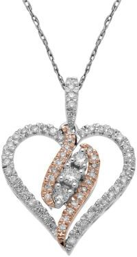 Lord & Taylor 14Kt. White & Rose Gold, Diamond Heart Pendant Necklace