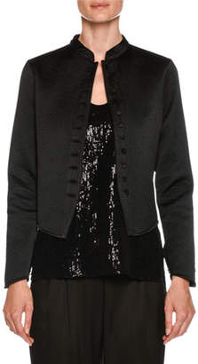 Giorgio Armani Neru-Collar Silk Grosgrain Short Jacket with Jeweled Buttons