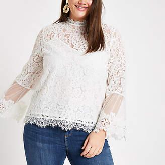 River Island Plus white lace long sleeve blouse