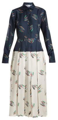 Gabriela Hearst - Rosa Spread Collar Abstract Print Silk Dress - Womens - Navy Print