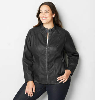 Avenue Seamed Faux Leather Moto Jacket