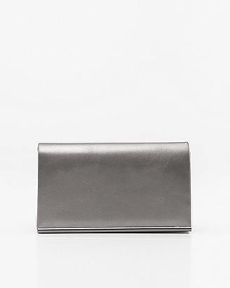 Le Château Metallic Leather-Like Flapover Clutch