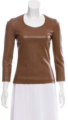 The Row Leather Long Sleeve Top