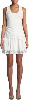 Derek Lam 10 Crosby Tiered Eyelet-Trim Cotton Jersey Dress