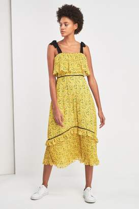 Whistles Womens Yellow Ditsy Blossom Pleated Dress - Yellow