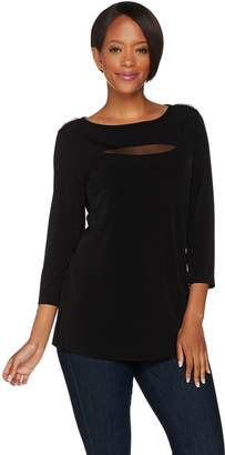 Susan Graver Liquid Knit 3/4 Sleeve Top with Mesh Inset