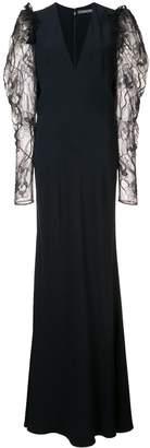Alexander McQueen lace sleeve evening dress