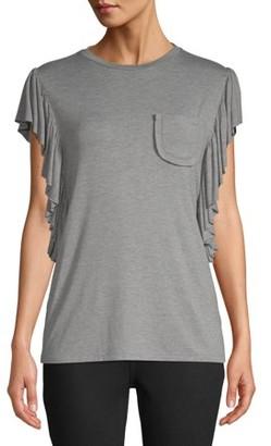Crème Fraiche Women's Ruffle Drape Sleeve T-Shirt