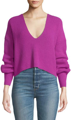 A.L.C. Melanie Wool V-Neck Cropped Sweater