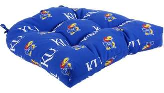 "College Covers Kansas Jayhawks Indoor / Outdoor Seat Cushion Patio D Cushion 20"" x 20"", 2 Tie Backs"